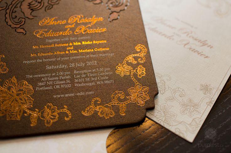 Indonesian Batik Lasercut Wedding Invitation