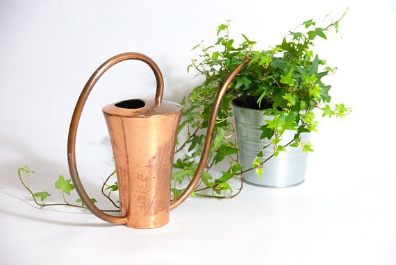 COPPER WATERING CAN, rustic watering can, modern watering can, watering can copper, gold watering can, gardening accessory, solid copper can