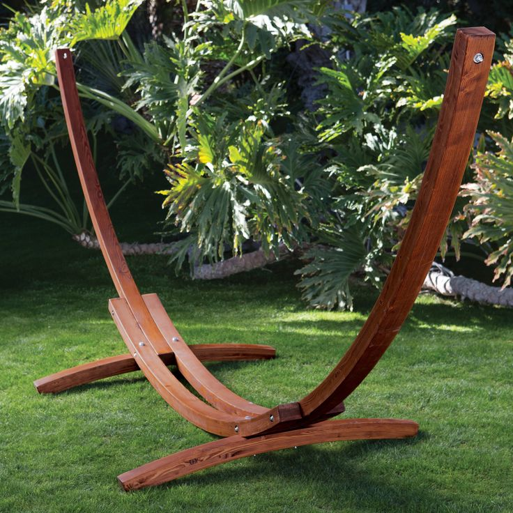 Algoma 15ft Russian Pine Wood Arc Hammock Stand | from hayneedle.com