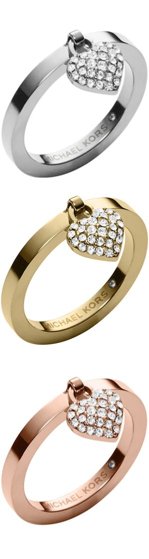 Michael Kors Pave Puffy Heart Charm Rings | The House of Beccaria#