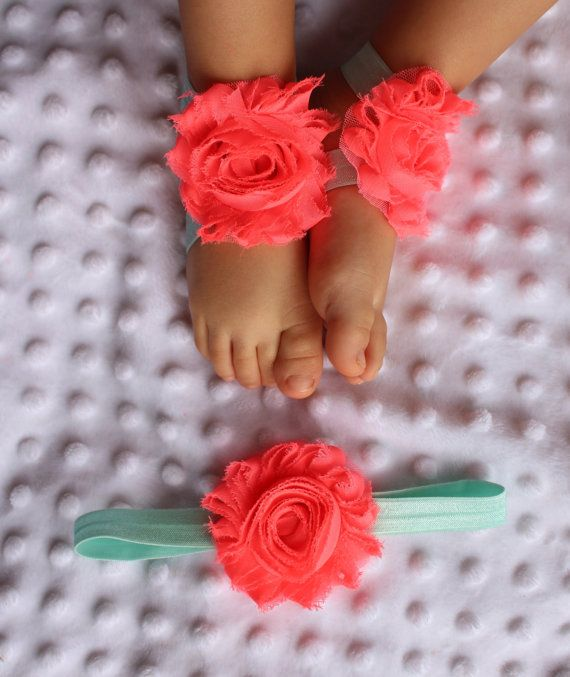 SET neon pink/ ice mint elastic   Sandals by PicturePerfectDiva, $3.99