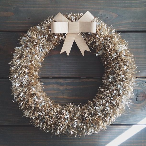 Made a 5 Minute Tinsel Wreath using the tutorial from my blog | Creature Comforts Blog