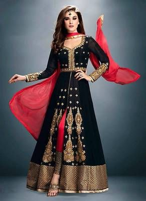 c653475091 Black embroidered georgette semi stitched anarkali with pant | Anarkali  Collection By Mirraw | Anarkali suits, Designer salwar suits, Indian dresses