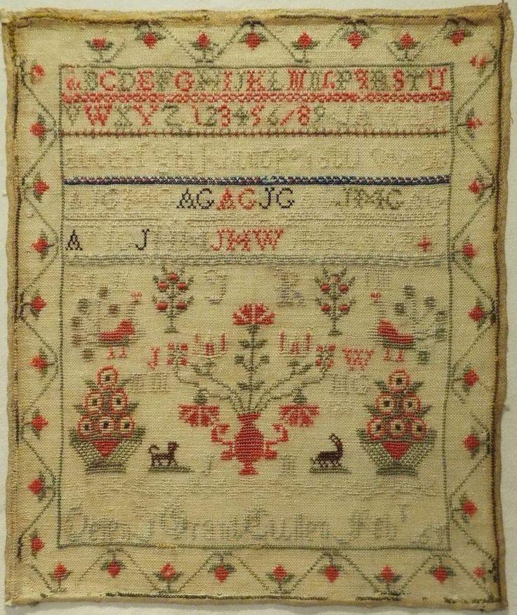 MID 19TH CENTURY SCOTTISH MOTIF & ALPHABET SAMPLER BY HELEN GRANT OF CULLEN 1865