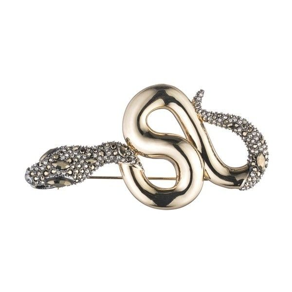 Alexis Bittar Snake Pin With Crystal Accent (€235) ❤ liked on Polyvore featuring jewelry, brooches, brooches & pins, gold, alexis bittar brooch, pin jewelry, snake jewelry, alexis bittar jewelry and alexis bittar