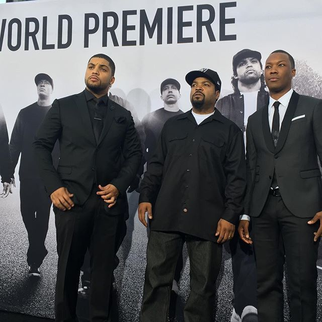 #IceCube x 2! @oshea_jackson_jr with @icecube and @coreyhawkins at the #straightouttacomptonpremiere by outtacomptonmovie