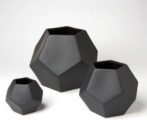 Matte black geometric vases from DwellStudio | House & Home
