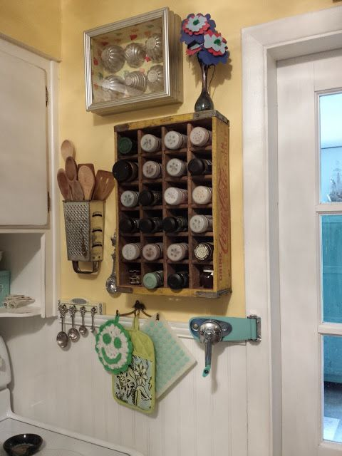 Unique Junktique: Small Space Storage... And Kitchen Tour {loving the grater as a spoon hol;der here!}