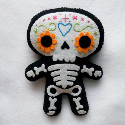 adorable Halloween cuties in felt - sugar skull