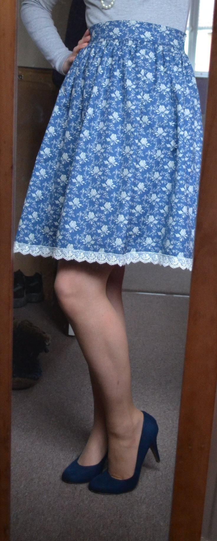 My first ever homemade skirt! Its blue and its flowery! I'm proud lol