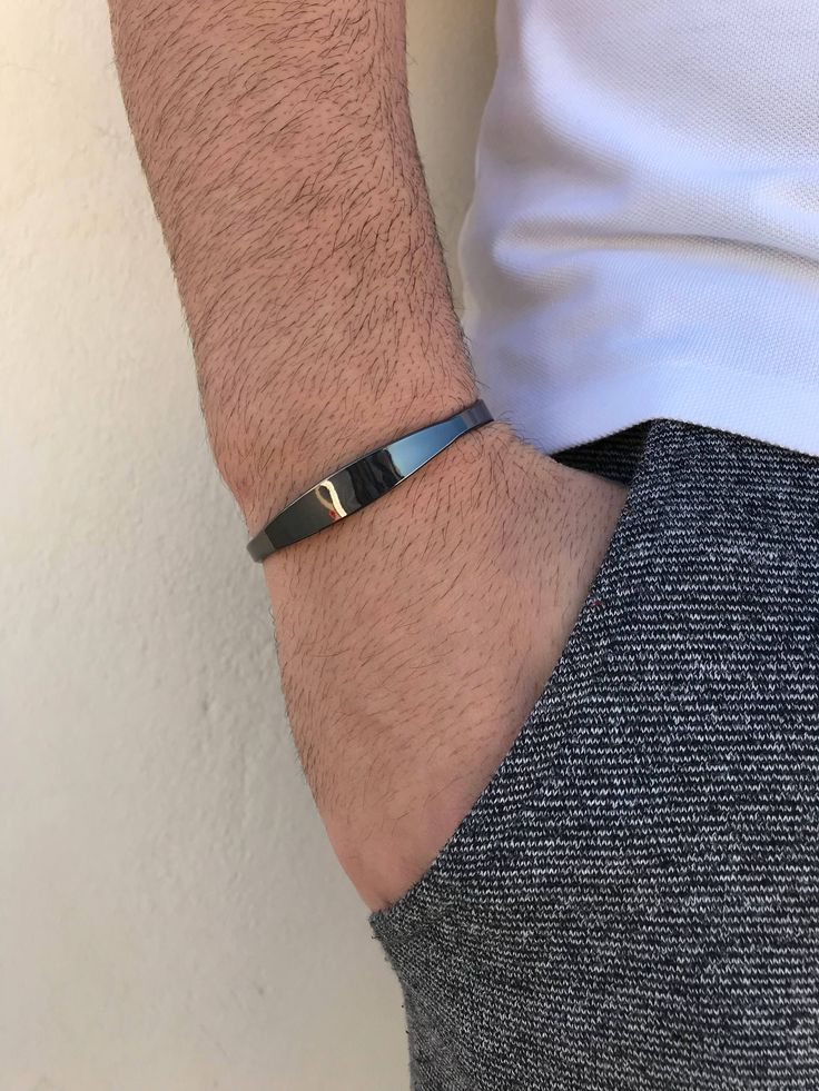 Excited to share the latest addition to my #etsy shop: Men's Bracelet, Cuff Bracelet Men, Black Cuff Bracelet, Bangle Bracelet Men, Gift for Him, Made in Greece, by Christina Christi Jewels. http://etsy.me/2BHtej1 #jewelry #bracelet #black #yes #no #unisexadults #mensb