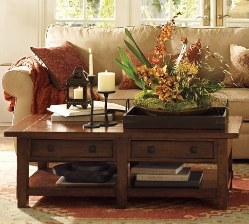 pottery barn: Barns Coffee, Barns Living, Coffee Tables, Warm Colors, Coff Tables, Families Rooms, Living Rooms Ideas, Benchwright Coffee, Pottery Barns