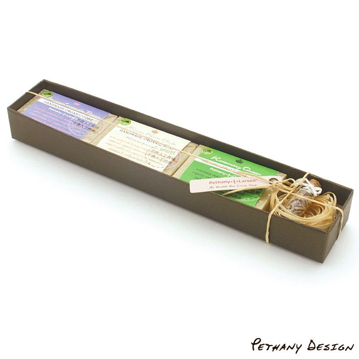 [ Organic Soaps & Lavender Scent Bottle Gift Box ] Material: Soap, Lavender, Glass Bottle, Paper, Recycled Paper Board. Designed in 2009 for Pethany+Larsen. Made in the United States, Taiwan.