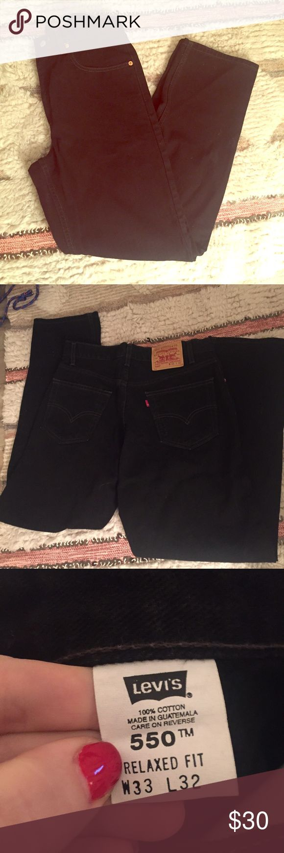 Black Levi's 550 relaxed fit jeans Black denim men's jeans 550 relaxed fit jeans. Sits at waist. Loose through hip and thigh. Straight leg. 33x32. Worn once Levi's Jeans Relaxed