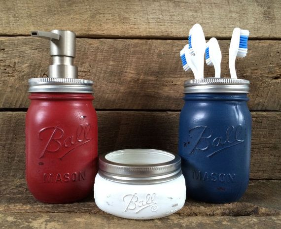 Red White & Blue Mason Jar Soap Dispenser Bathroom by MasonMeSmile, $40.00