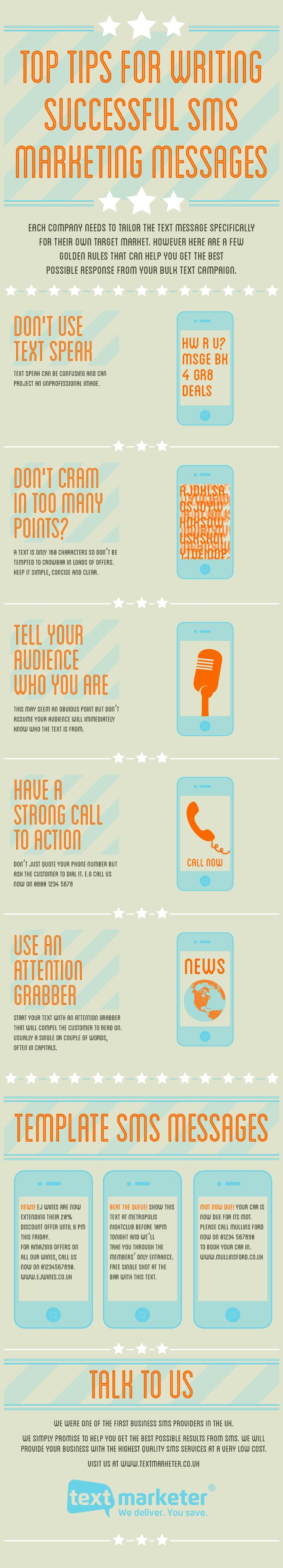 Top tips for writing successful SMS marketing messages   Visit our new infographic gallery at visualoop.com/