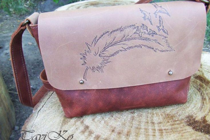 """Кожаная сумочка через плечо из кожи Крейзи Хорс """"Перо"""" - Каталог рукоділля #104296"""