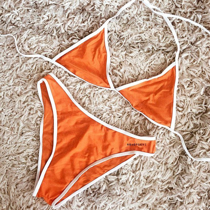 Triangle Contrast Swim Bikini (Army Green, Black, Grey, Orange) - Swimwear Women Triangle Bikini Set Bandage Push-Up Swimsuit Bathing Beachwear