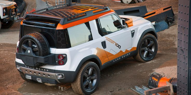 An expedition-ready version of the Land Rover DC100 concept vehicle outfitted with an air-intake snorkel for wading, roof mounted equipment rack and an integrated winch. #LandRover