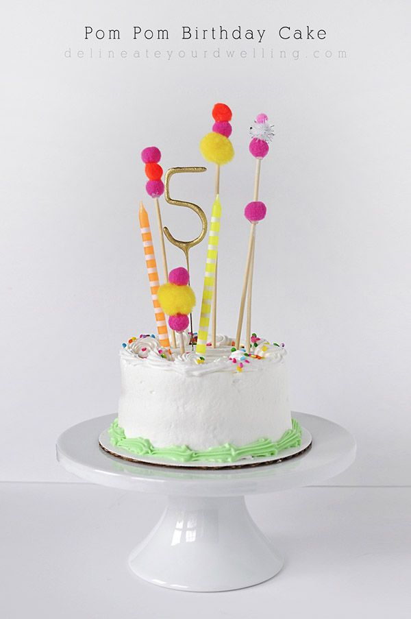 Simple and FUN Pom Pom Birthday Cake Topper - Delineate Your Dwelling