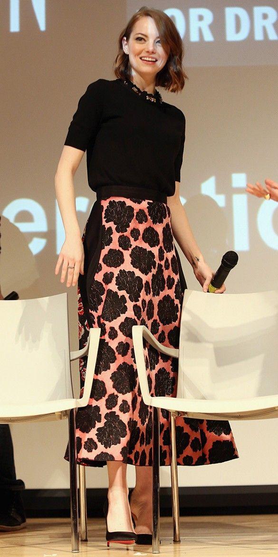 Recreate Emma Stone's Perfectly Feminine Look via @WhoWhatWear