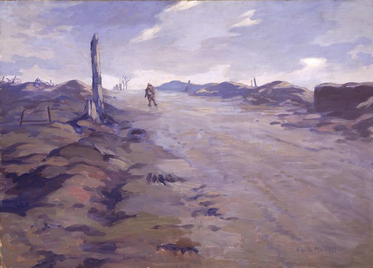 Gyrth Russell - The Crest of Vimy Ridge- a painting that evokes a grim, grey, muddy dawn in a countryside devoid of beauty, and made barren by desparate and prolonged conflict.