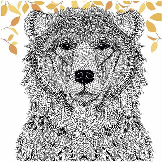 Woodland Bear Coloring Page
