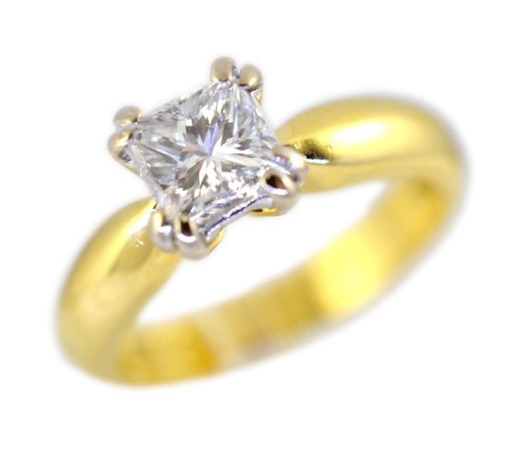 1.00ct princess cut diamond solitaire in yellow gold
