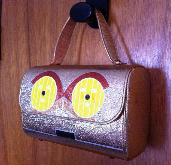 C3PO: Upcycled hand painted gold purse