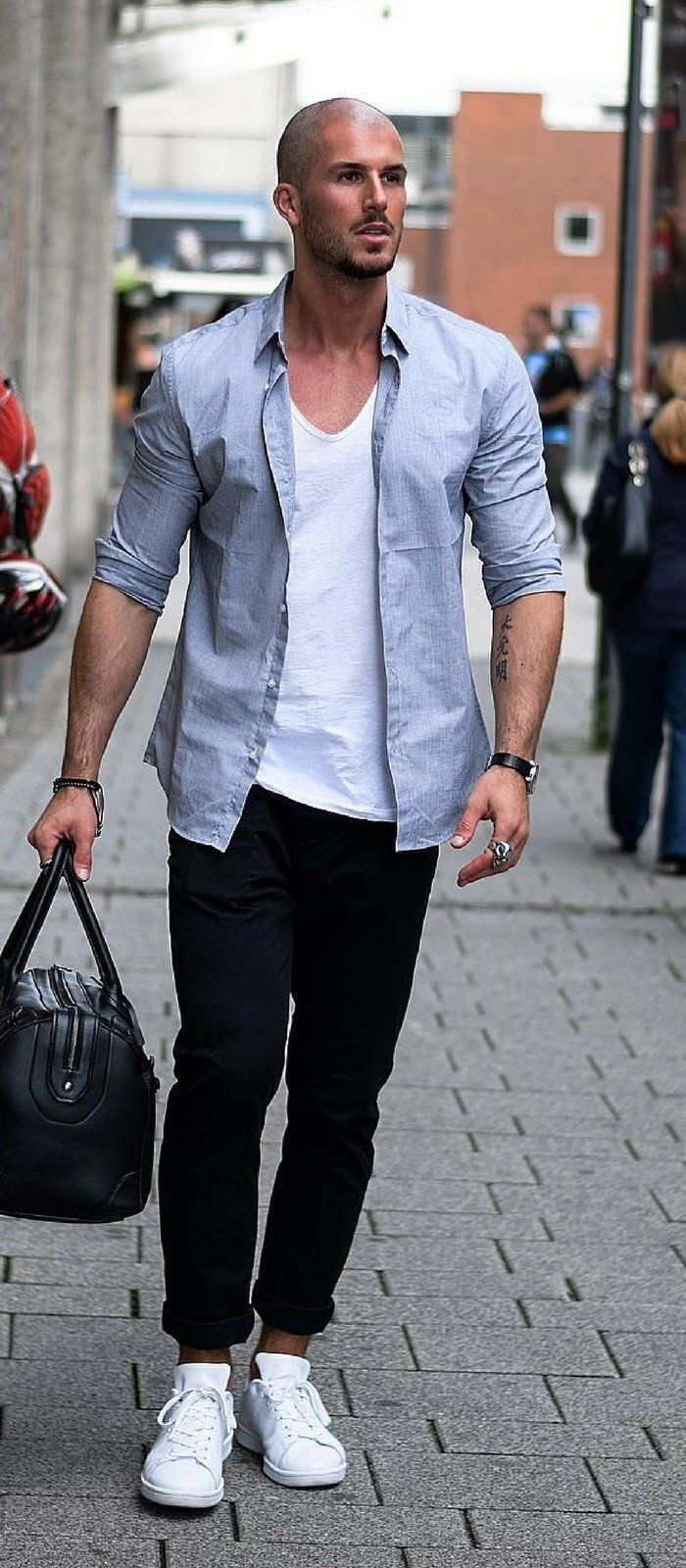 13 Coolest Casual Street Styles For Men Summer Outfits Men Bald Men Style Mens Fashion Summer [ 1600 x 700 Pixel ]