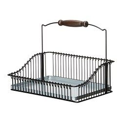 """FINTORP wire basket with handle, black Length: 11 ¾ """" Width: 7 ¾ """" Height: 9 ½ """" Length: 30 cm Width: 20 cm Height: 24 cm"""
