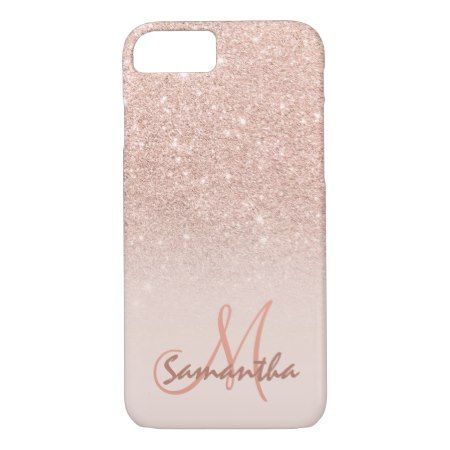 Stylish rose gold ombre pink block personalized iPhone 7 case - tap to personalize and get yours