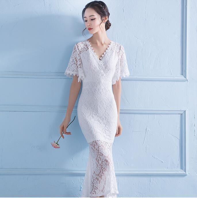 Gorgeous White Lace V Neck Short Sleeve Mermaid Gown Bride Mini ...
