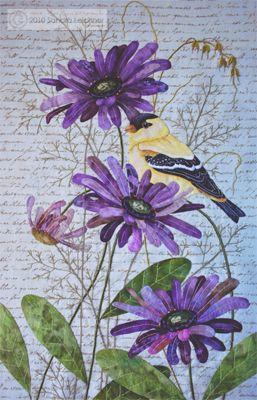 """The Goldfinch Block pattern, 10.5""""w x 17""""l, by Sandra Leichner for the The Naturalist's Notebook Series Quilt"""