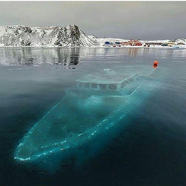 Frozen Ship in Antarctica | via @mehmetdzn