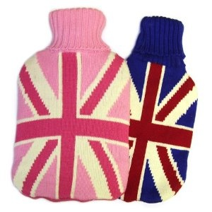Hot Water Bottle with Knitted Union Jack Cover