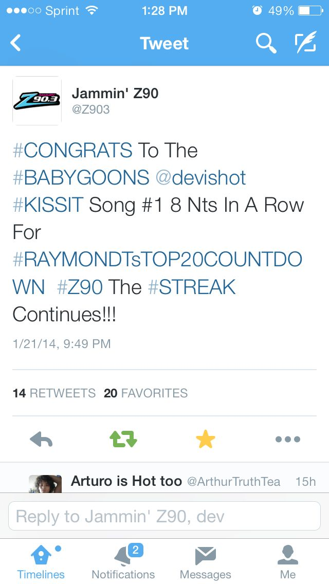 Dev kiss it song made it to the number 1 on San Diego's radio z90 top 20s  fans countdown