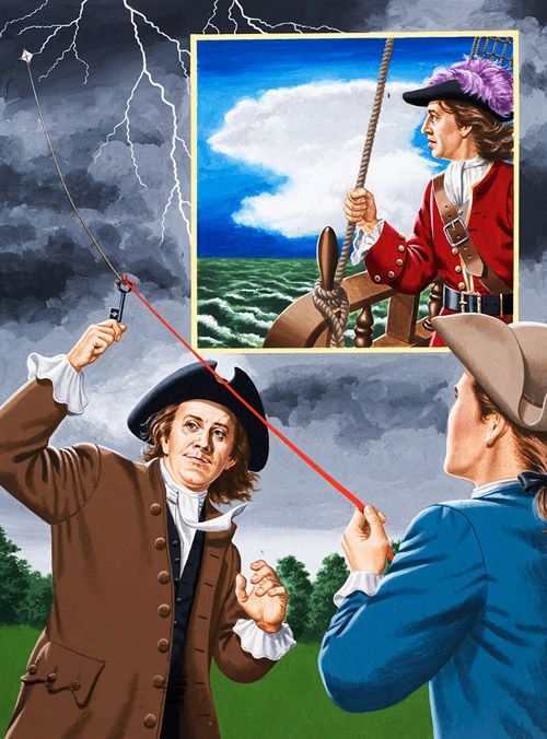 What did William Dampier and Bejamin Franklin have in Common? (Original) art by John Keay  They were both 18th century weathermen. A detailed study of typhoons in the China Seas enabled William Dampier (inset) to predict future storms. Once he was able to save his ship from capsizing by his accurate weather forecasting.  : Benjamin Franklin unwittingly risked his life many times in his efforts to demonstrate that lightning was electricity which followed the easiest path to earth