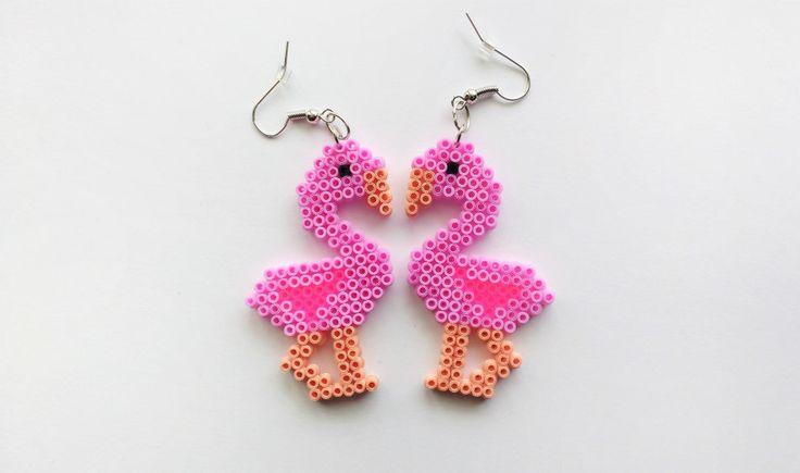 Flamingo earrings Hama mini beads by 8BitEarrings