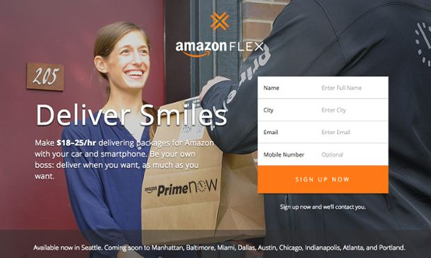 Would-be delivery drivers can use their car and phone to deliver parcels for Amazon Flex