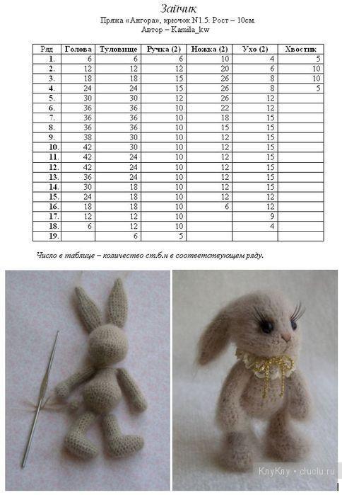 Вязание крючком игрушки амигуруми. Схема вязания зайчика
