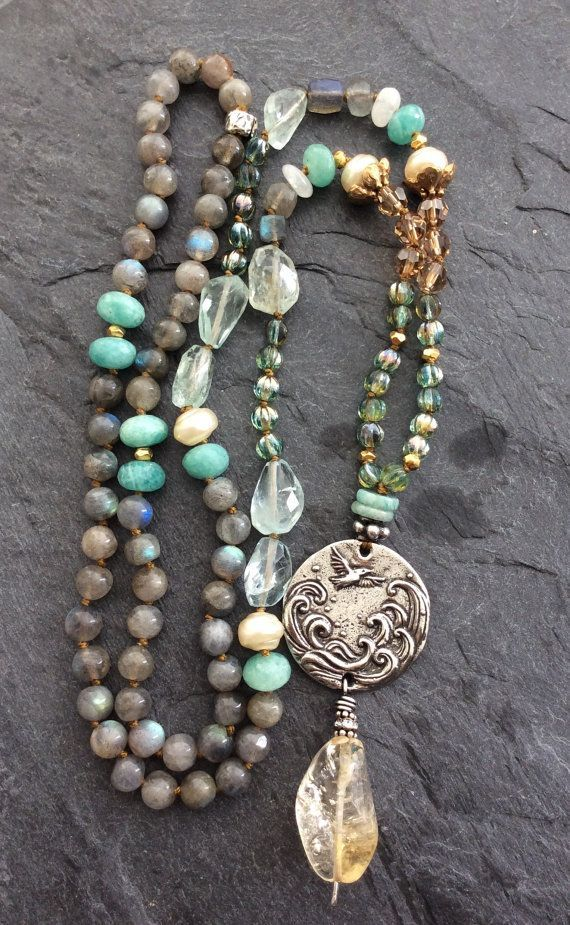 nice Long boho knotted necklace - 'Grateful heart' pendant, layering bohemian chic, semi precious jewelry by Mollymoojewels
