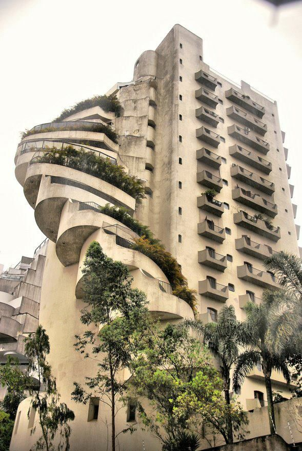 Brutalism - Brutalismo - Favela Paraisopolis - Sao Paulo.  Location: a split between the poor and the rich. No sense of community as a whole. For the rich. Pool on each floor.