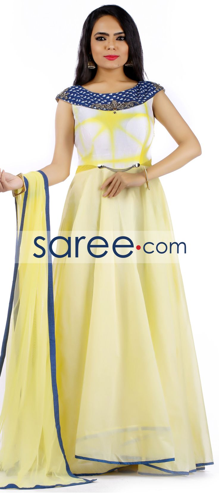 YELLOW COTTON SILK ANARKALI SUIT WITH EMBROIDERY WORK  #SalwarSuit #SalwarKameez #AnarkaliSuits #PartywearSalwarSuits #SalwarSuits #Indowestern