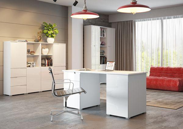 białe meble biurowe i gabinetowe kolekcja trendline Szynaka Selene