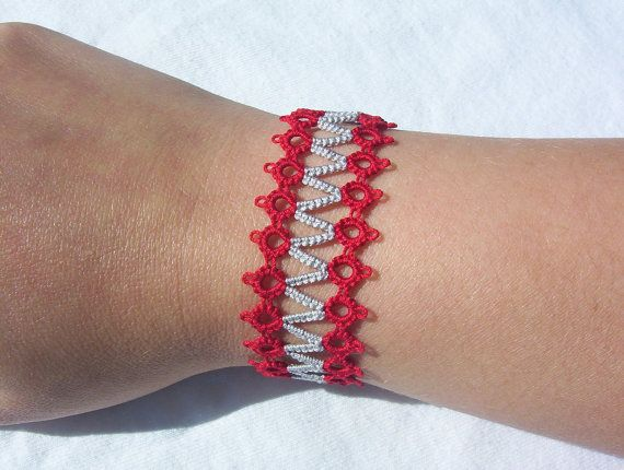 Ohio state bracelet tatted bracelet ohio state by MamaTats on Etsy, $15.00