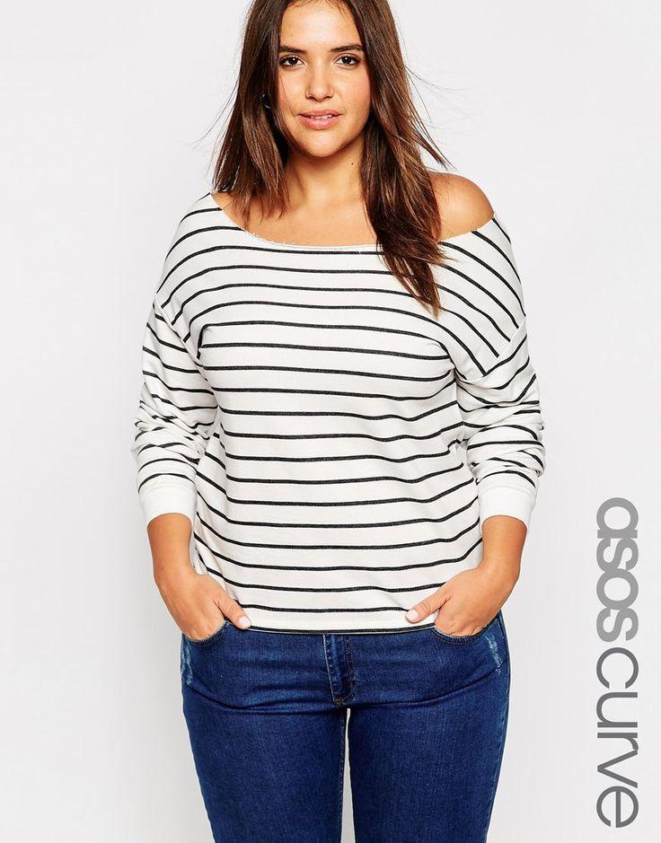 ASOS CURVE Off Shoulder Sweatshirt in Stripe