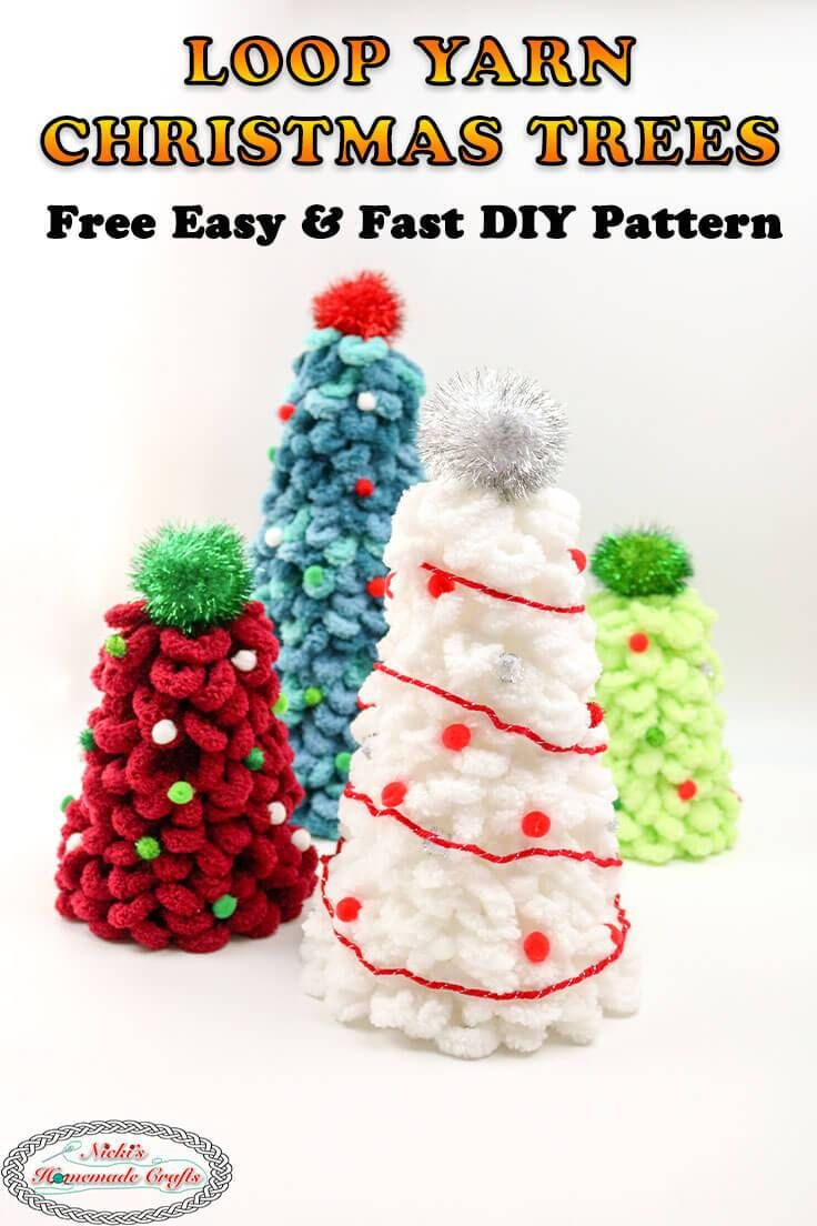 How To Make Amazing Christmas Trees With Loop Yarn Easily Amazing Christmas Trees Diy Christmas Tree Christmas Tree Yarn