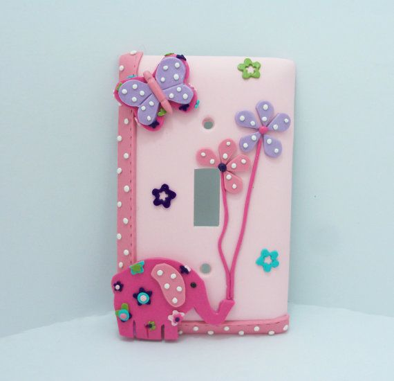 Annabelle Pink Elephant Lavender Butterfly by Thimbletowne