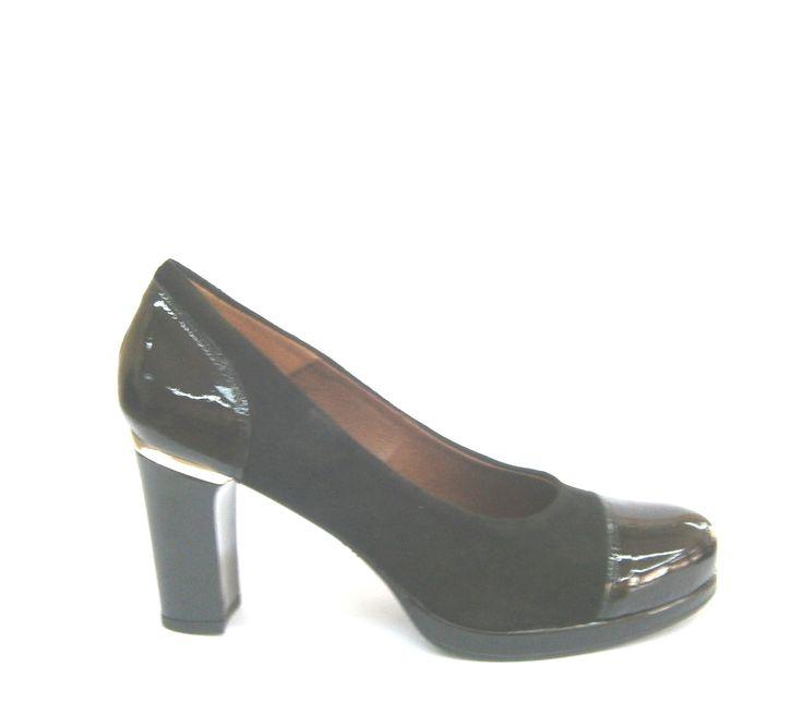 MODELO 1107 charol negro / ante negro #zapatos#salón#charol#ante#cómodos